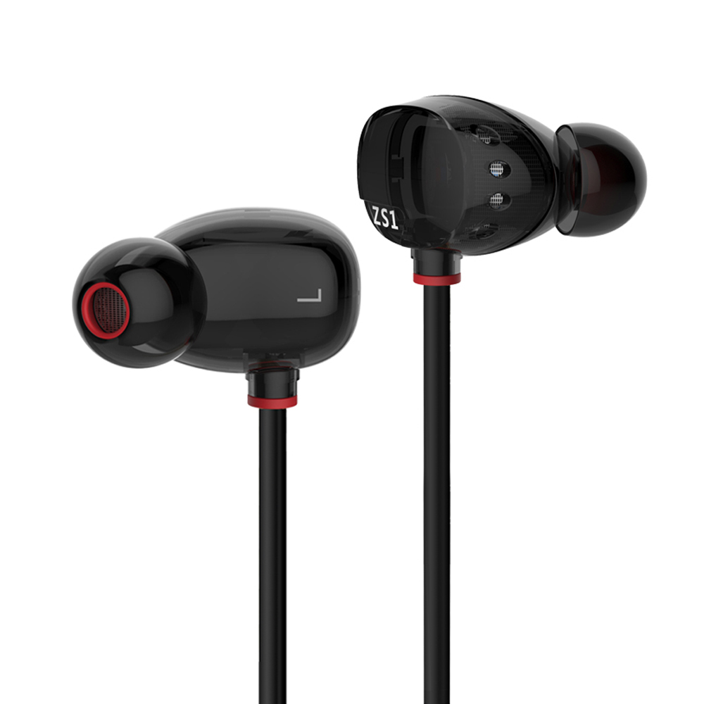 KZ ZS1 Stereo In-Ear Monitors Earphone Dual Dynamic Driver Earphones Sport Earbuds Noise Cancelling For Computer Phone lightweight sport headphones with mic hifi in ear earphones ear hook comfortable headsets noise cancelling earbuds for phone mp3