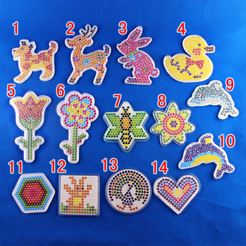 10pcs/set 5mm Hama Beads Template With Colore Paper Plastic Stencil Jigsaw Perler Beads Diy Transparent Shape Puzzle Pegboard