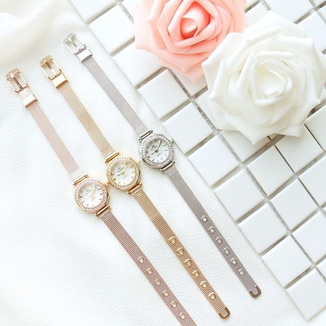 Nova Moda Famosa Marca BS Coreano Fina Pulseira Assistir 18 K Ouro Líquido de Luxo Mulheres Dress Watch Rhinestone Bling Cristal pulseira