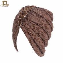 NEW women slouchy beanie beaded flower knit turban skull ruffle cap