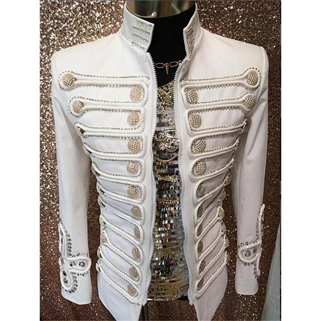 Белые кнопки производительность пиджак верхняя одежда мода этап одежда для бально певица Ds танцовщица ночного клуба одежда DH-018