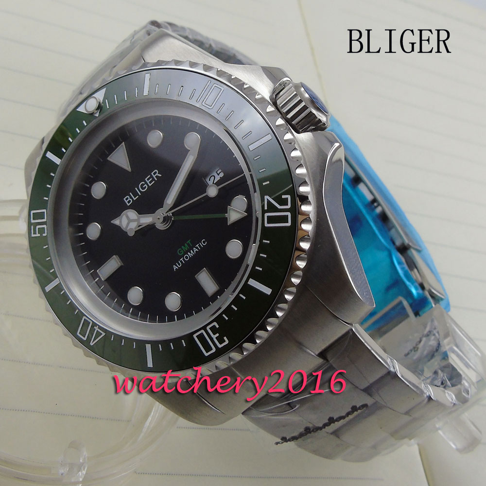 new 44mm Bliger black dial green ceramic bezel luminous markers GMT Automatic Movement Men's business Mechanical Wristwatches 44mm bliger gray dial blue ceramic bezel sapphire crystal automatic movement men s mechanical wristwatches