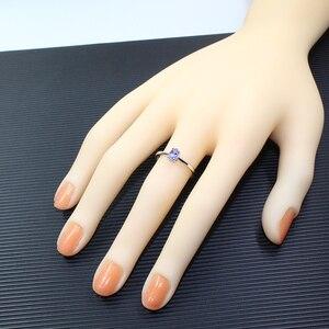 Image 5 - Hotsale gümüş tanzanite yüzük 4 mm * 6 mm gerçek tanzanite yüzük nişan için katı 925 gümüş tanzanite yüzük romantik hediye