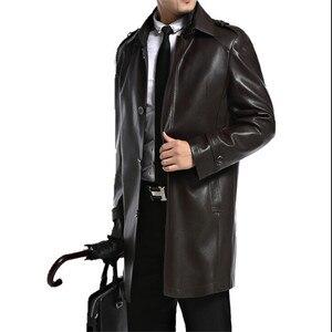 Image 2 - ชายเสื้อหนัง Faux PU Sheepskin ชาย Outwear แจ็คเก็ตฤดูใบไม้ร่วงเสื้อลำลองแฟชั่นชายยาว Man ปลอมแจ็คเก็ตหนัง A2552