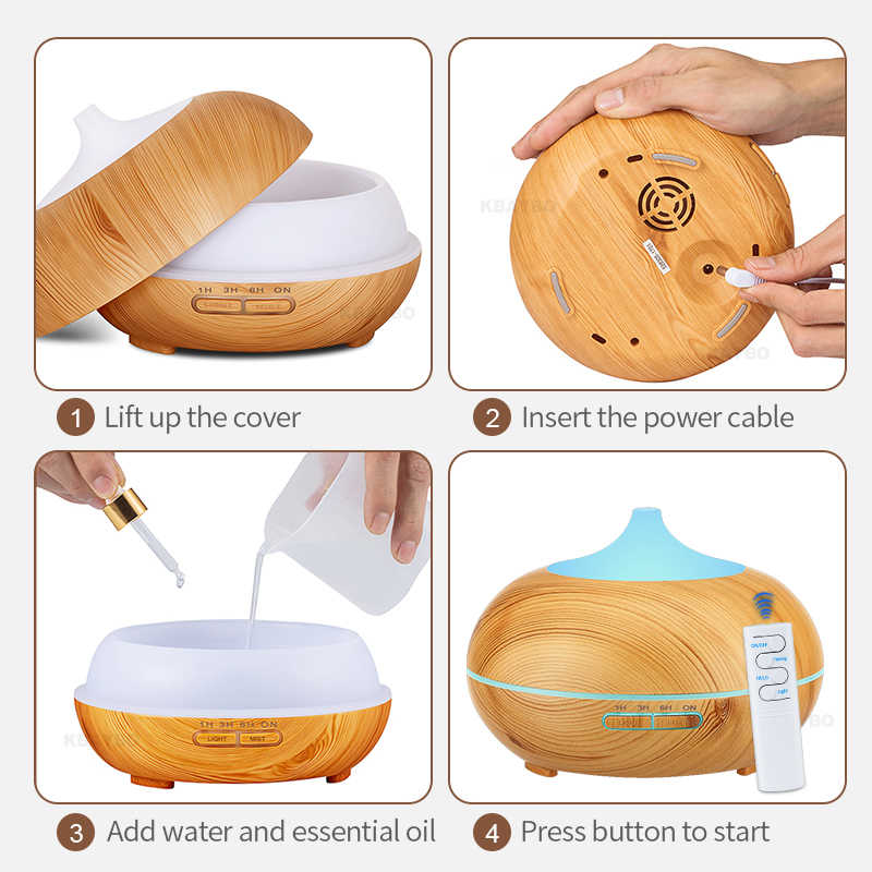 550ML รีโมทคอนโทรล Aroma Diffuser น้ำมันหอมระเหยไม้น้ำมันหอมระเหยน้ำมันหอมระเหยอัลตราโซนิค Cool Mist Humidifier สำหรับ Home