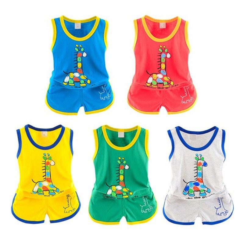 2PCS 1-3T Summer Hot Sale Baby Boys Girls Clothes Set Newborn Kids Cartoon Vest+Shorts Two Sets Infant Children Newly Suits