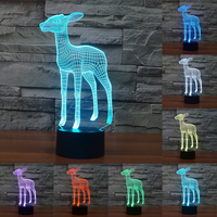 3D Vision Deer Stag 7 Colorful Nightlight LED Acrylic Plate USB Touch Sensor Lamp Desk Lamp