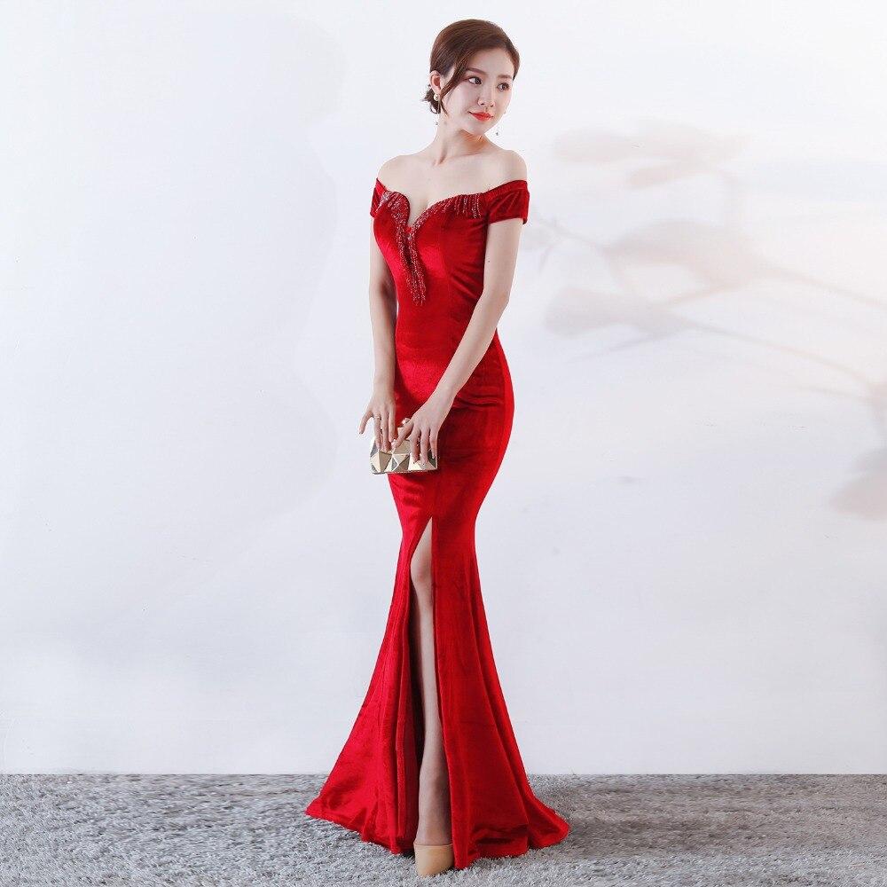 Women Elegant Sexy Appliques Velvet Wine Red Off Shoulder V-Neck Long Mermaid Slim Slit Club Party Dress Vestidos (5)