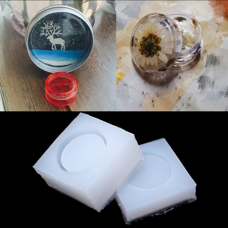 1Set DIY Round Silicone Storage Box Mold Resin Mould Jewelry Casting Craft Handmade