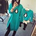 Familia de la manera Trajes A Juego Camisetas Madre Muchacha de Los Cabritos Muchachos Camisas pingüino ropa Trajes de manga Larga Familia Madre E Hijo mirada