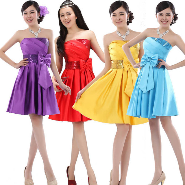 2017 new fashion gowns Bride homecoming dress short design formal dress graduation party dresses 10 colors