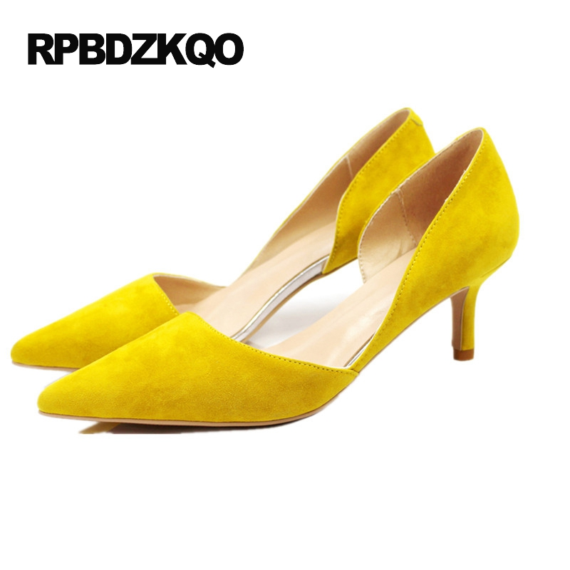 Korean Yellow Japanese 5cm 2 Inch 33 4 34 Small Size Kitten High Heels Pumps Sheepskin Shoes Women 2017 Ladies Pointed Toe Suede pointed toe dress shoes ladies pumps high heels ankle strap footwear 4 34 small size crystal stiletto 2017 7cm 3 inch silver