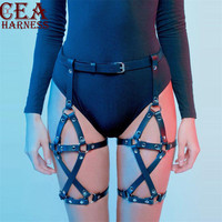 CEA.HARNESS Punk Harajuku Pu Leather Harness Garter BDSM Belt Women Black Leg Bondage Lingerie Stocking Suspenders Thigh Goth