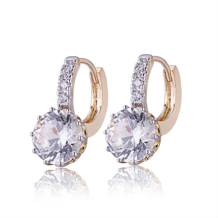 Wholesale 2019 Gold-Color CC Hoop Earrings For Women Earring With CZ Cubic Zirconia Circle Earings Free Shipping 22E18K-101