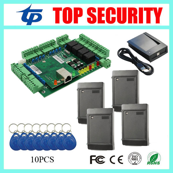 TCP/IP 4 doors access controller smart card door access control board four doors access control panel time attendance system free shipping by dhl tcp ip four door access controller 4 door access control panel access control board