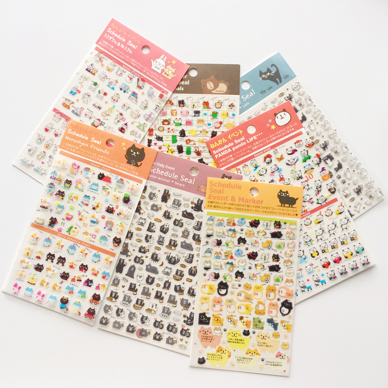 1 Sheet Cute Panda Cat Bear Mini DIY Schedule Seal Daily Event Decorative Stickers Diary Phone Bottle Decor Stick Label