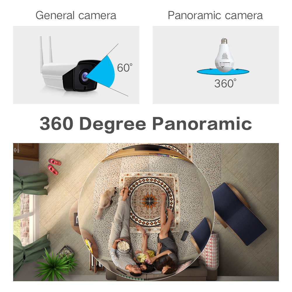 960P 360 degree Panoramic Wireless IP Camera Bulb Light FishEye Smart Home CCTV 3D VR Camera 1.3MP Home Security WiFi Camera