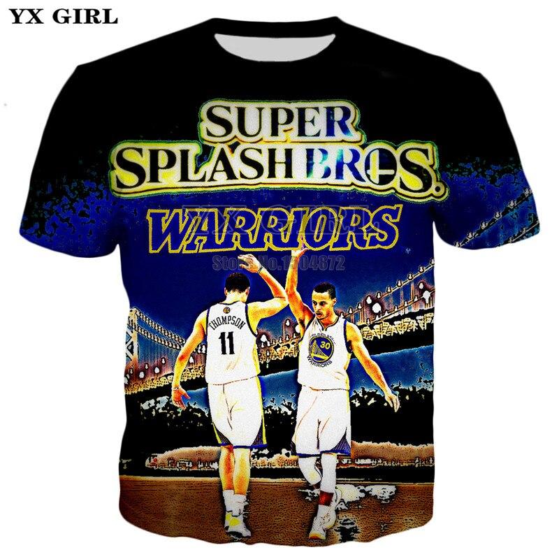 YX Girl 2018 Summer Fashion Mens Tee Shirts Splash Brothers Stephen Curry   Klay  Thompson 3d Printed T shirt Men Cool T shirt-in T-Shirts from Men s ... 0ffecba75
