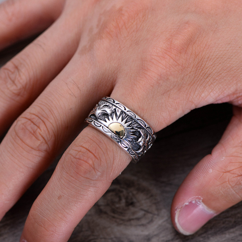 Real 925 Sterling Silver Male Ring Indian Eagle Wings Sun Totem