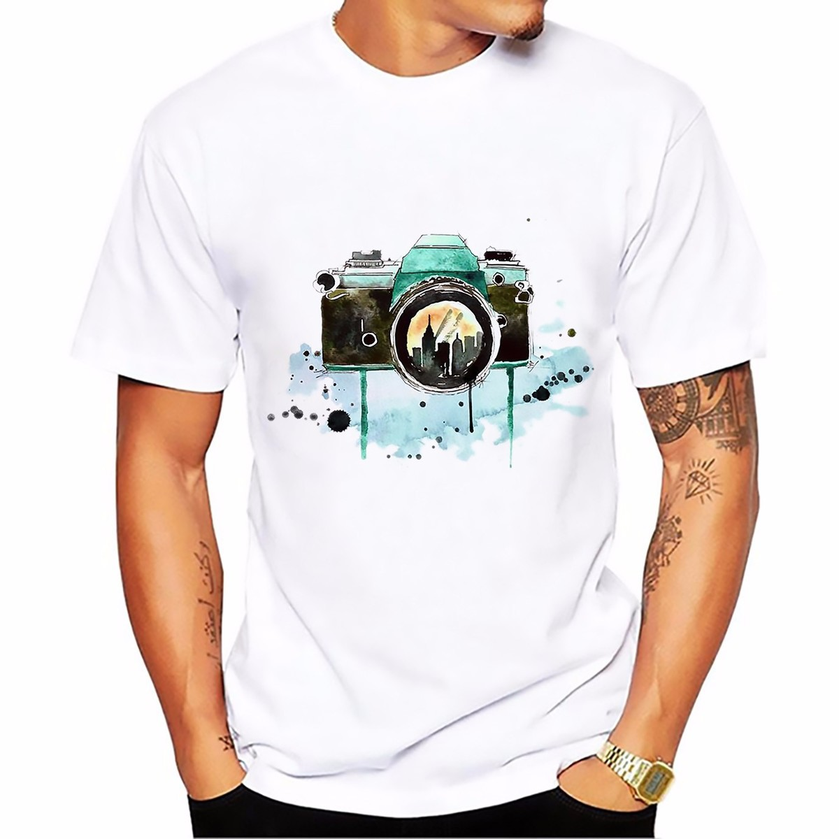 Fresh Style Camera Design T Shirt Man Summer Tops Tees  Short Sleeve O-neck Comfort Breathable T-shirt White Casual Tshirt