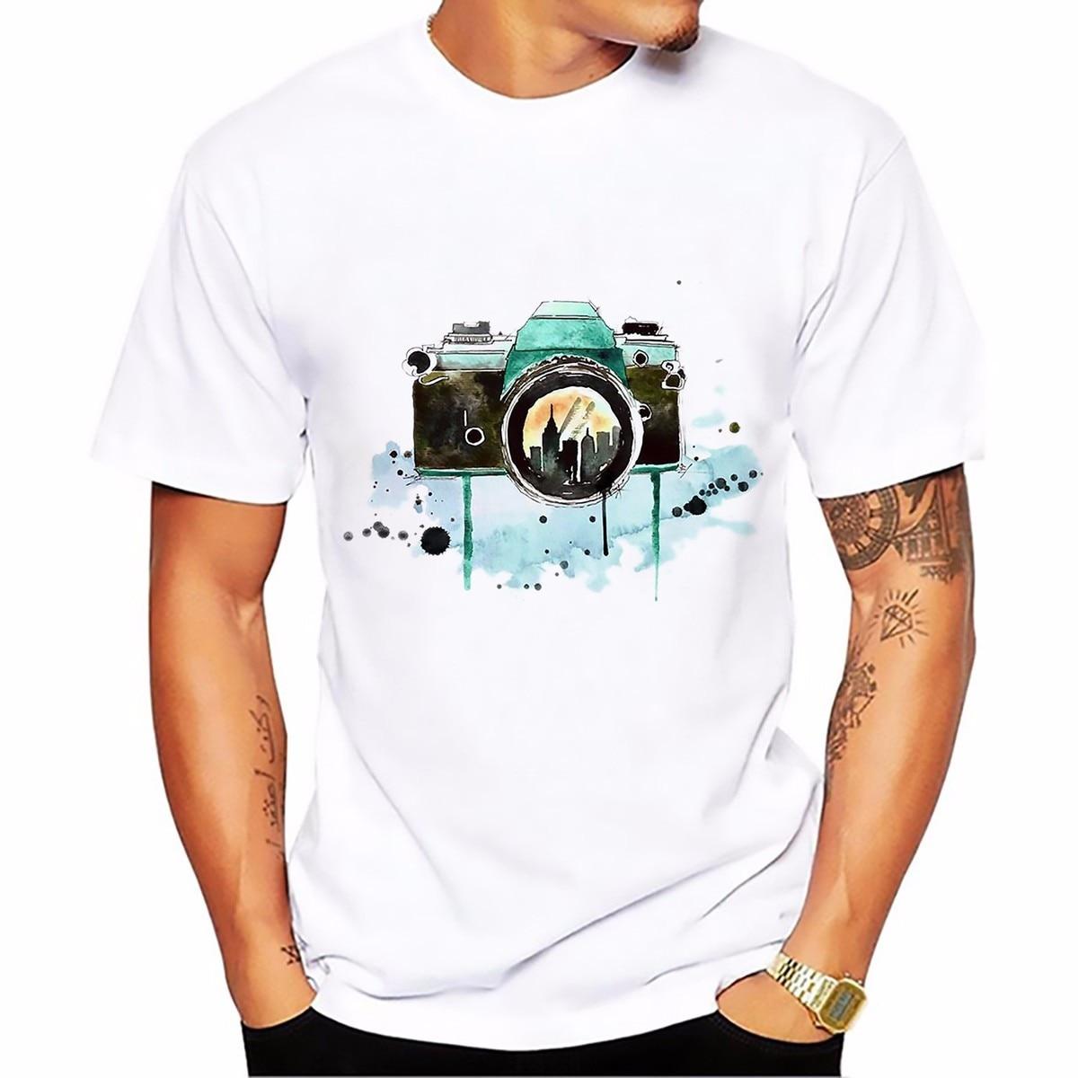 Fresh Style Camera Design T Shirt Man Summer Tops Tees