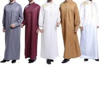 Vintage Embroidery Jubba Thobe For Men Mandarin Collar Long Sleeve Muslim Men Clothing Spring Autumn Big Size Oman Abaya Men 3xl