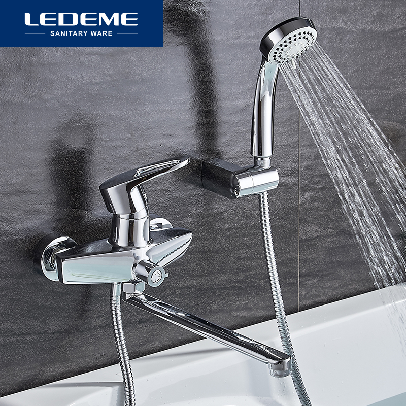 LEDEME Chrome Bathtub Faucets Finished Thermostatic Faucet Bathroom Shower Faucets Wall Mounted Mixer Bath Faucet 1 Set L2257 new shower faucet set bathroom thermostatic faucet chrome finish mixer tap handheld shower wall mounted faucets