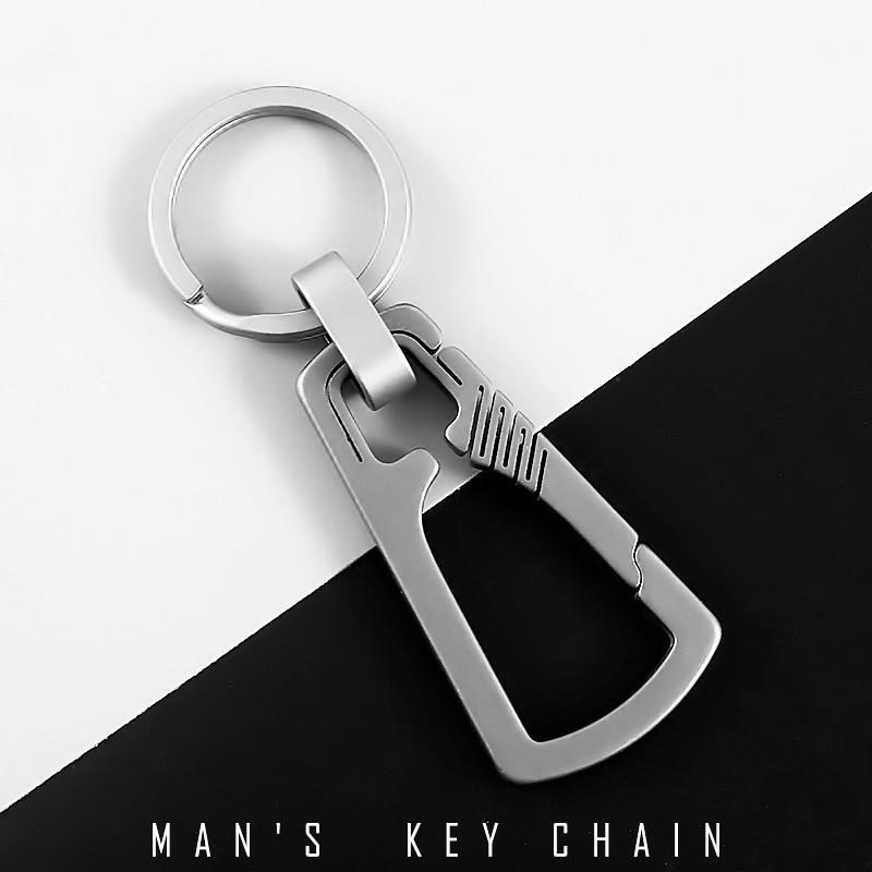 Real Titanium Car Key Chain Men EDC Ultra Lightweight Titanium Keychain Hanging Buckle Key Rings Quickdraw Tool Creative KeyRing