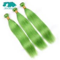Allrun מראש בצבע ירוקה דשא בצבע שיער אנושי מארג ברזילאי שיער אדם רמי ללא 3 חבילות 8-26 inch