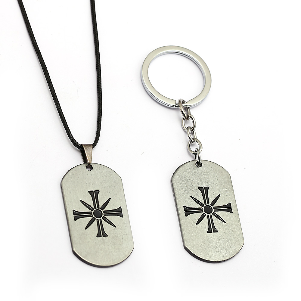 Far Cry 5 Keychain Game Key Chain Metal Necklace Black Gun Pendant Men Cross Keyring