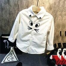 Розничная, детская белая рубашка с длинными рукавами Новая весенне-Осенняя детская одежда и зимняя одежда