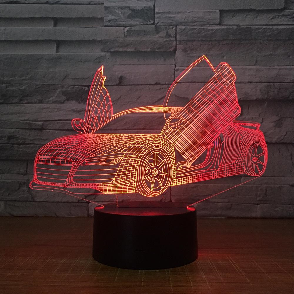 Scissors Door Supercar 3d Lamp 7 Color Led Night Lamps For Kids Touch Led Usb Table Lampara Lampe Sleeping Nightlight Drop Ship