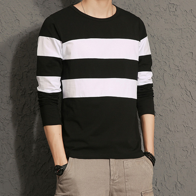 Striped long sleeved O-neck Tee shirt