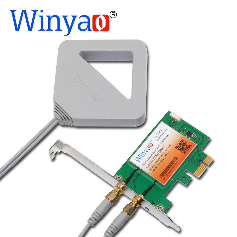 Winyao PCE-3168AC Dual Band PCi-Express Desktop WiFi Adapter 3168AC 3168NGW 433Mbps Wireless PCI-E with Bluetooth 4.2 BT 11ac