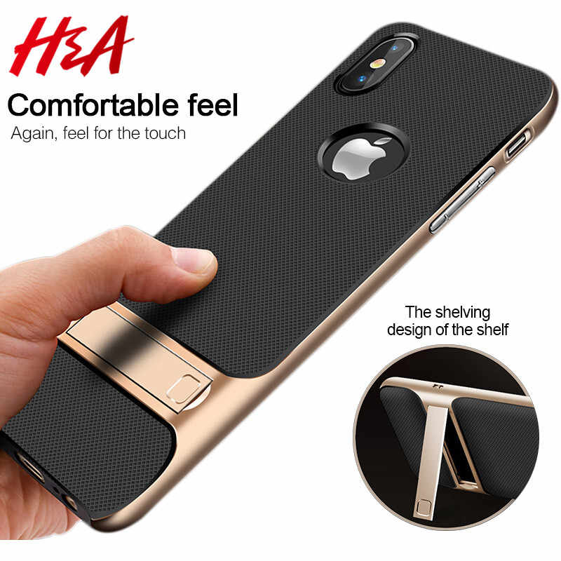 H&A 360 Full Cover Protective Case For iPhone X 6 6s 8 7 Plus PC + TPU ShockProof Cover For iPhone 7 8 Plus Kickstand Phone Case