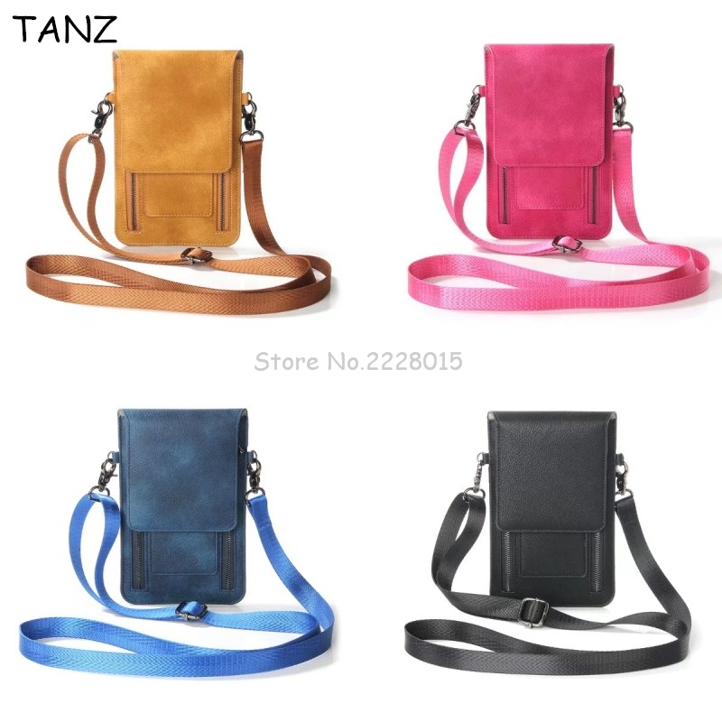 TANZ Universal Leather <font><b>Cell</b></font> <font><b>Phone</b></font> Bag Shoulder Pocket Wallet Pouch Case Neck Strap For Samsung For iPhone 7 8 For Huawei For HTC