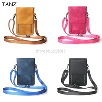 TANZ Universal Leather Cell Phone Bag Shoulder Pocket Wallet Pouch Case Neck Strap For Samsung For iPhone 7 8 For Huawei For HTC