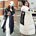 2017 casaco de inverno mulheres amassado outerwear jaqueta feminina longa carta impressão espessamento parkas moda fino de algodão-acolchoado casaco