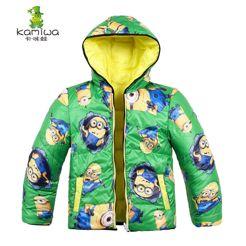 2017 Baby Boys Winter Coats Jackets Minions Printing White Duck Down Thicken Parkas Brand Hooded Children Clothes Kids Clothing baby snowsuits hooded jumpsuit white duck down jackets for boys girls winter snow coats kids clothes infantil thicken rompers