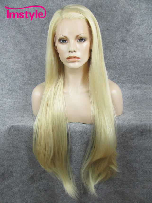 Imstyle Straight Ash Blonde Wig 30 inches Synthetic Lace Front Wigs For Women Heat Resistant Fiber Cosplay