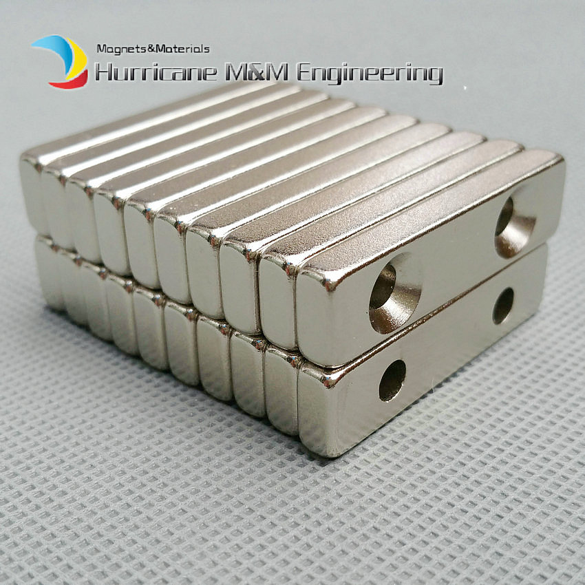 1 pack NdFeB Fix Magnet 40x10x4 mm with 2 M5 Screw Countersunk Hole Block N42 Neodymium Rare Earth Permanent Magnet nt125whm n42 fit b125xtn01 0 12 5led lcd screen edp 30pins 2 special screw hole
