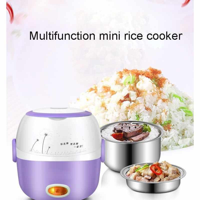 220V موقد صغير لطهي الأرز العزل التدفئة صندوق غداء كهربي 2 طبقات المحمولة باخرة أوتوماتيكي متعدد الوظائف الغذاء الحاويات الاتحاد الأوروبي