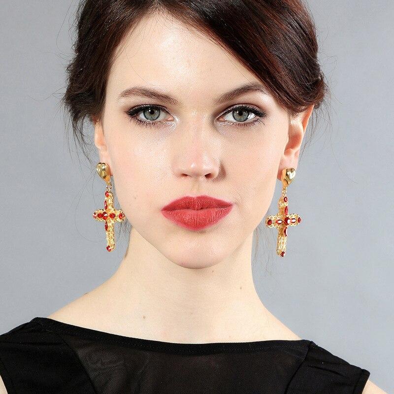 ZWPON New Designer Gold Heart Love Earrings 2018 Gold Filigree Red ... 11cfcfd15597