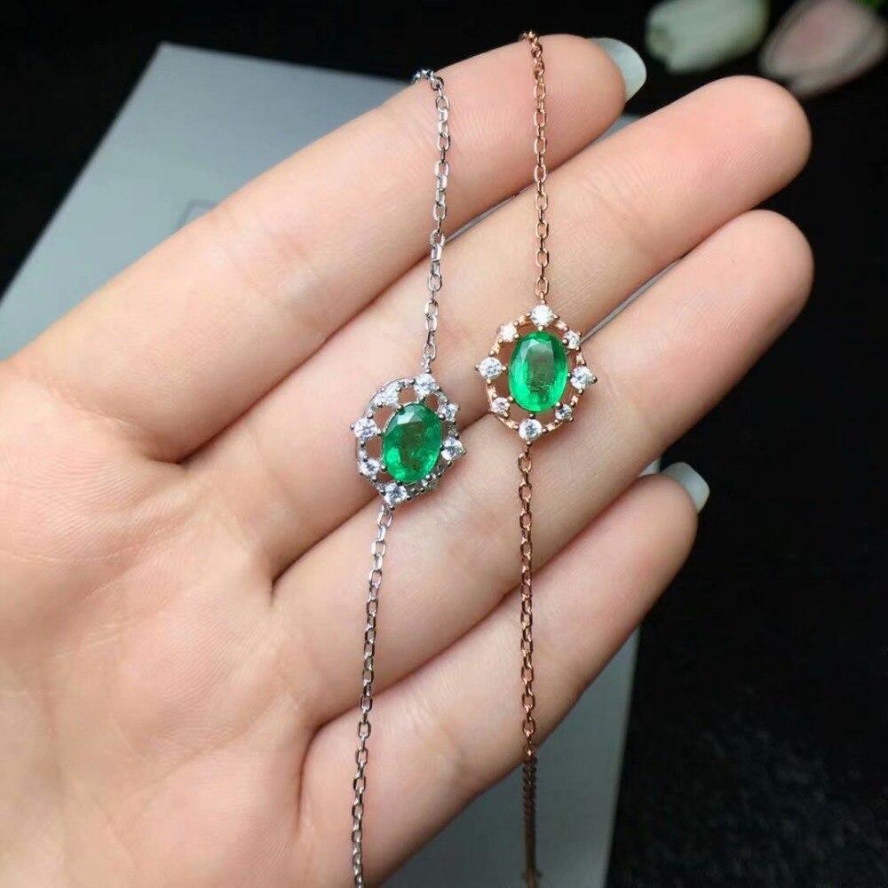 Shilovem 925 reais de prata verde Esmeralda Pulseiras fine Jewelry mulheres na moda do casamento planta atacado 5*7mm csl050701agml
