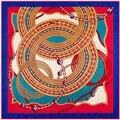 Buena Calidad Mujeres Bufanda Cadena Brújula Patrón Sarga Pañuelo De Seda Pañuelo de Lujo 100 cm * 100 cm Bolso Accesorios SH15102224