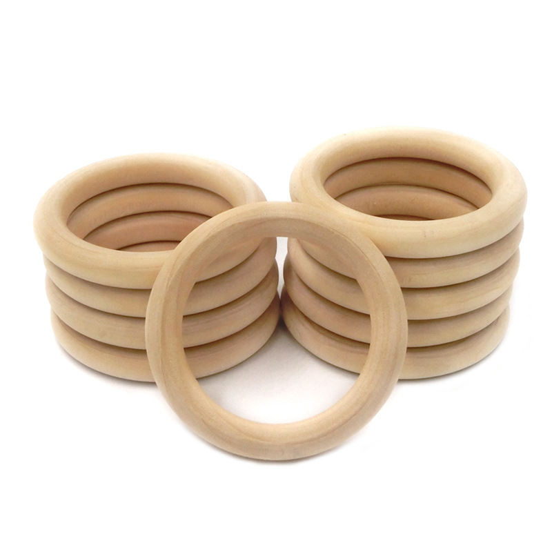 5pcs 55/68mm Natural Wooden Rings Infant Teether Toy Necklace Bracelet For 3-12 Month Infants Tooth Care Products Baby Teething