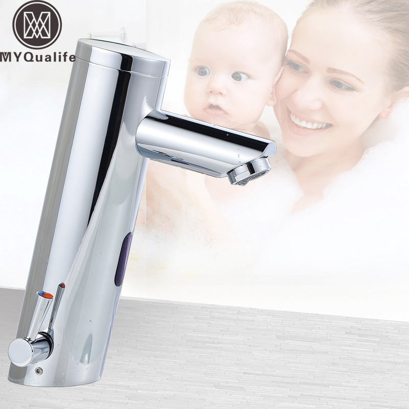 Chrome Hot & Cold Mixer Tap Automatic sensor Faucet Deck Mounted Single Handle Free Sensor Tap Faucet & Sink Tap micoe hot and cold water basin faucet mixer single handle single hole modern style chrome tap square multi function m hc203