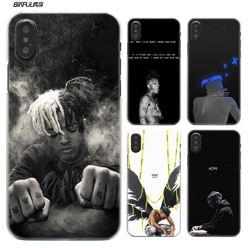 Case for iPhone XS Max XR X 10 7 7S 8 6 6S Plus 5S SE 5 4S 4 5C Clear Plastic Hard PC Coque Phone Cover Rap Singer XXXTentacion in Half wrapped Cases from Cellphones Telecommunications