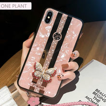 Funda para iPhone x XR XS MAX 11 Pro Max funda para el iPhone 7 8 6 Plus con espejo creativo de lujo a la moda con incrustaciones de mariposas en 3D(China)