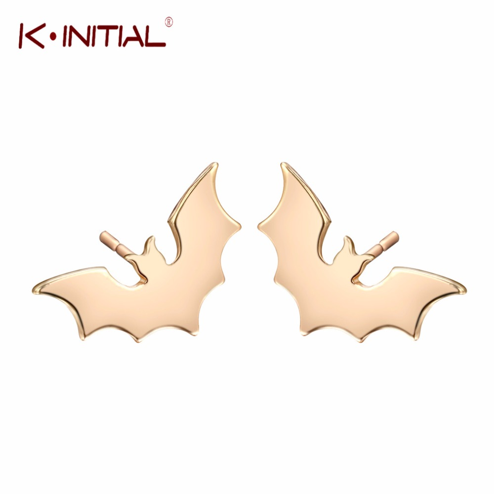 Kinitial Wing Bats Earrings Women Jewelry for Party Charming Gold Silver Animal Bat Earrings Girl Gift Accessories